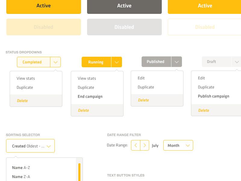 Kit of parts - Buttons ui design web app buttons dropdown select box