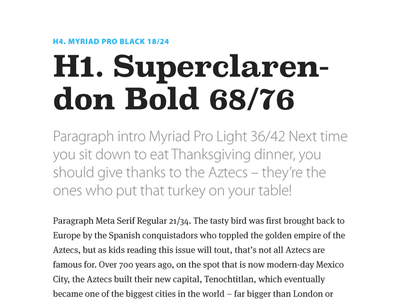 Kids Discover - Typography Guidelines style guide meta serif myriad pro superclarendon typography