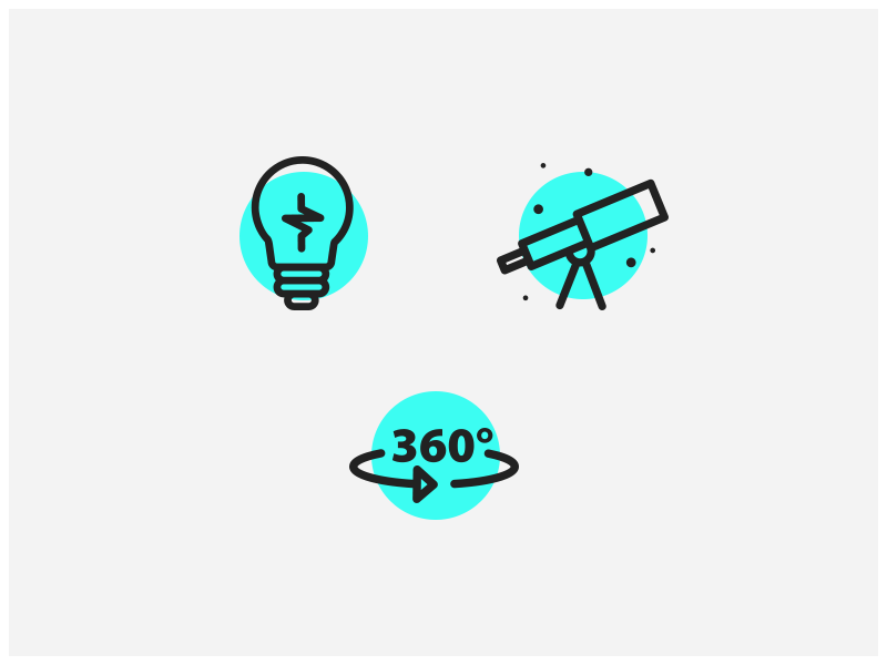 Kids Discover - Icons 360 telescope lightbulb blue design user interface ui icon icons