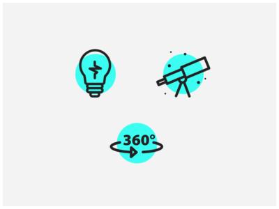 Kids Discover - Icons 360 telescope lightbulb blue design user interface ui icon icons