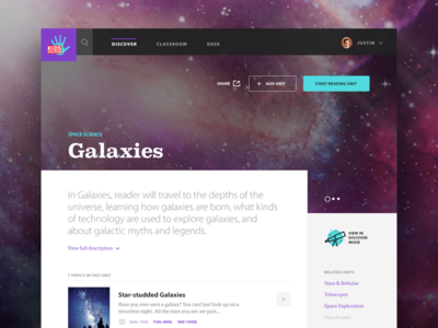 Kids Discover - Galaxies Unit View interface color galaxies space kids discover ui