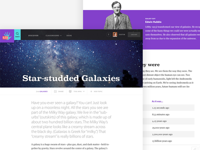 Kids Discover - Galaxies Topic View interface galaxies space color kids discover web design website ui