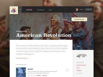 Kids Discover - American Revolution Unit interface web app website web design ui