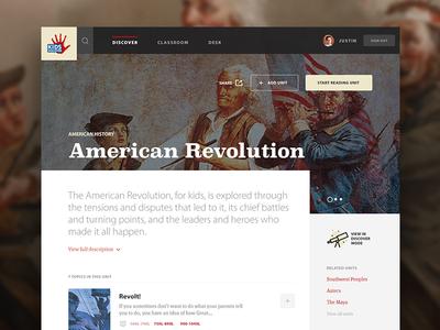 Kids Discover - American Revolution Unit interface web app website web design ui