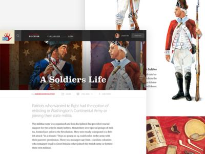 Kids Discover - American Revolution Topic View ui web design website web app interface
