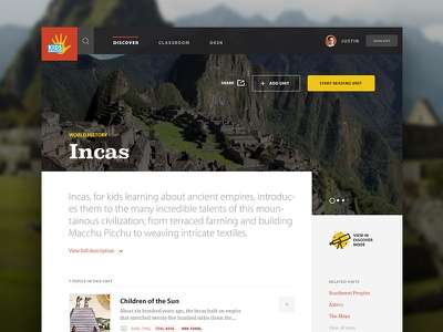 Kids Discover Incas Unit View ui web design website web app interface