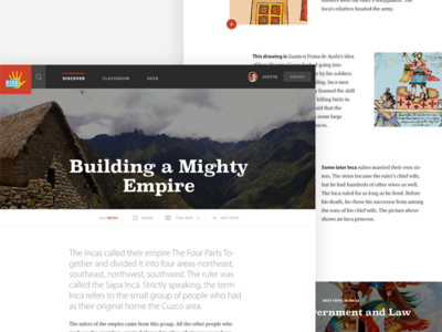 Kids Discover Incas Topic View interface web app website web design ui