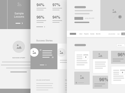 CCA / Wireframes illustrator charter school cards tiles homepage wireframes ux website ui