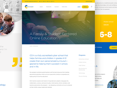 CCA / Programs Page gotham charter school gradient yellow website ui interface