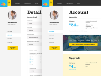 Kids Discover - Account Plan and Details upgrade avatar account website interface ui