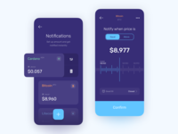 Price notification app product design mobile bitcoin crypto price notification ux design ui ux statistics spendings interface fintech finance app business bar chart banking app banking bank card bank app payment