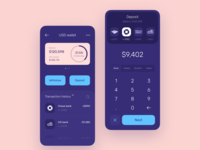 USD deposit for crypto app withdraw banks ux ui statistics spendings balance product design price payment interface fintech finance app mobile business bitcoin banking bank card bank app bank