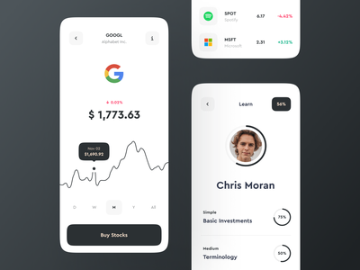 Stock Page & Profile Progress for Investment App profile clean ux design ui  ux app mobile interface statistics fintech finance app chart stocks investments