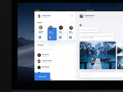 Video Call App for Mac ux design manage participants upload file video call ux ui messenger mac os mac app interface desktop contacts clean chat app audio call app