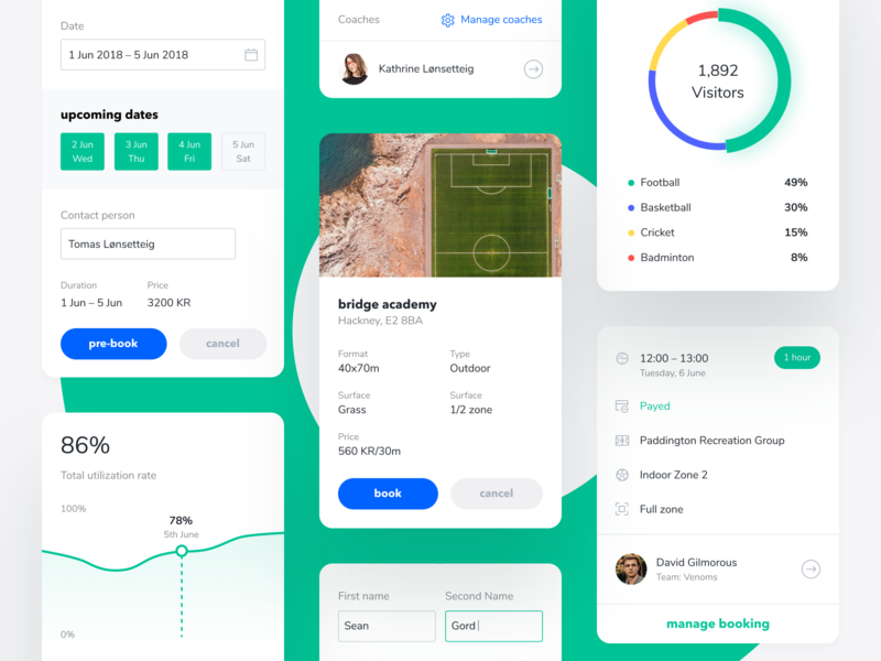 Widgets & Cards for Booking app event place saas pre-booking sports facility notification dashboard analytics charts web app schedule planning coach calendar book admin panel search filter booking