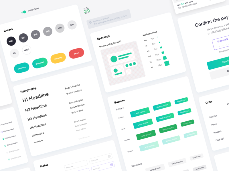 Design system for Z bank clean grid icon font family style guide design system interface banking statistics fintech finance app chart cards business bank card bank app bank account bank balance app