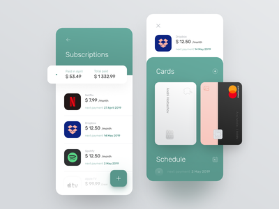 Subscriptions management for banking app product design ux design mobile payment calendar subscriptions subscription subscribe prepaid management app design system interface statistics fintech finance app chart cards bank card bank account balance