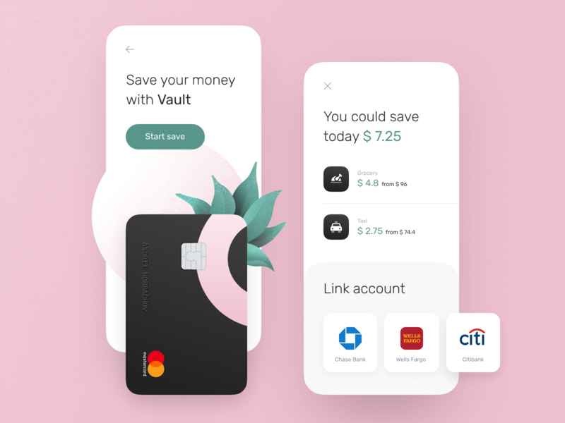 Vault page for banking app product design ui ux design mobile payment save money vault style guide design system banking statistics fintech finance app chart cards bank card bank app bank account bank balance