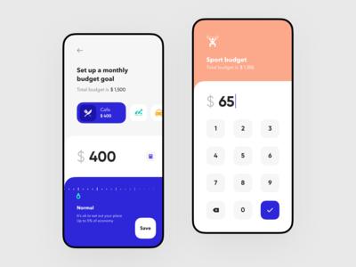 Budget goals setup for Banking app