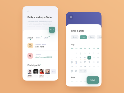 Meeting details for Booking app mobile search planing schedule team salary saas projects notifications management app filter employee e-commerce dashboard calendar admin panel
