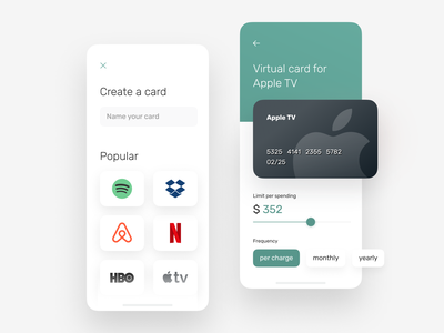 Virtual card creation for Banking app apple tv limit ux ui virtual card bank card banking banking app business finance app fintech interface mobile ui ux ux design card product design app design system