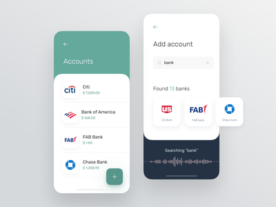 Accounts management for banking app voice search voice assistant search results bank account account design system app product design card ux design ui ux mobile interface fintech finance app business banking app banking ui ux
