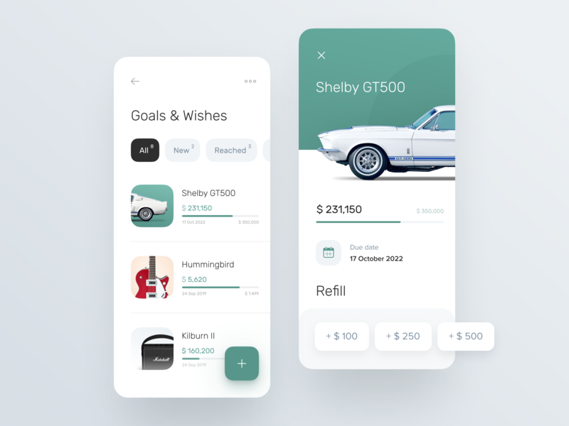 Goals and Wishes page for Banking app refill wishes goals ux ui banking banking app business finance app fintech interface mobile ui ux ux design card product design app design system account bank account