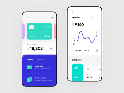 Cards & Analytics for Banking App video animation design system product design app bank app bank card banking banking app bar chart business filter finance app fintech mobile statistics ui ux ux design payment mobile app