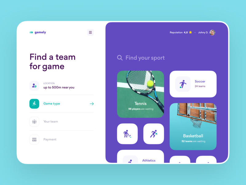 Find a Team for Sport Game – Web Service web design web grid layout layout web app saas design app product design booking app sport ux design interface ux ui