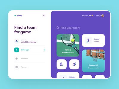 Find a Team for Sport Game – Web Service web design web grid layout layout web app saas design app product design booking app sport ux design interface ux ui