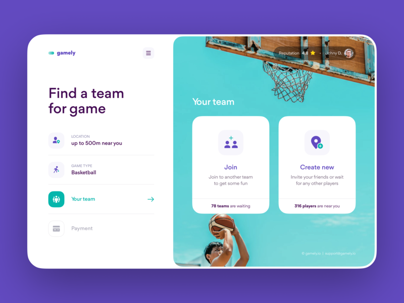 Gamely Product Design – Team for Sport Game design website design web web design ui ux interface ux design sport booking app product design app saas design web app layout grid layout