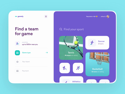 Gamely — Screens Transition Concept animation grid layout layout web app saas design app product design booking app sport ux design interface ux ui web design web website design design