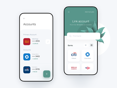 Accounts page for Banking app app mobile style guide design system interface banking statistics fintech finance app chart cards business bank card bank app bank account bank balance payment