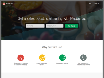 PepperTap Vendors Landing Page