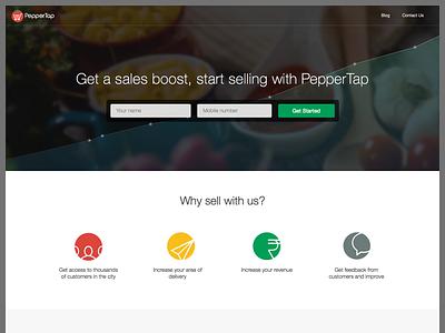 PepperTap Vendors Landing Page peppertap landing page landing flat graph line chart sell