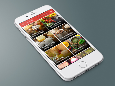 PepperTap Home sketch grocery shopping home app ui clean tiles material design