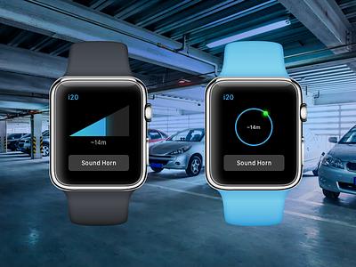 Car Locater concept watch apple finder parking locater car