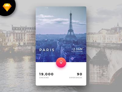 Sketch Freebie - City Card concept ui freebie sketch cityscape card city