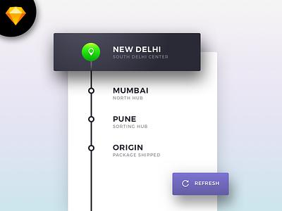 Sketch Freebie: Minimal Tracking Details Card download freebie ui sketch minimalistic card details tracking