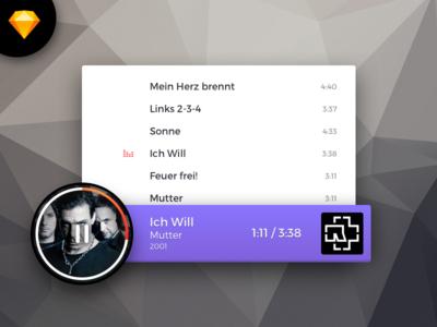 Music Player Concept - Sketch Freebie