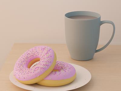 Donuts in Blender invite mug blender donut 3d