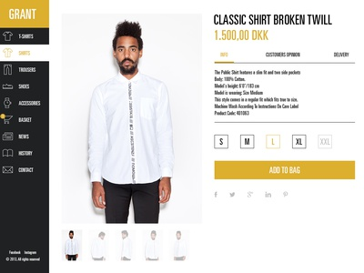 Grant - product page ecommerce webshop ui flat denmark interface clothes webdesign product product page