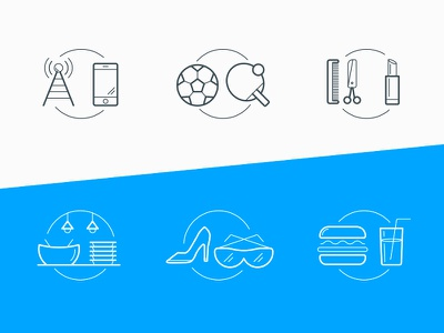 Business types icons tech sale of point blue simple illustration pos enterprice types business icon