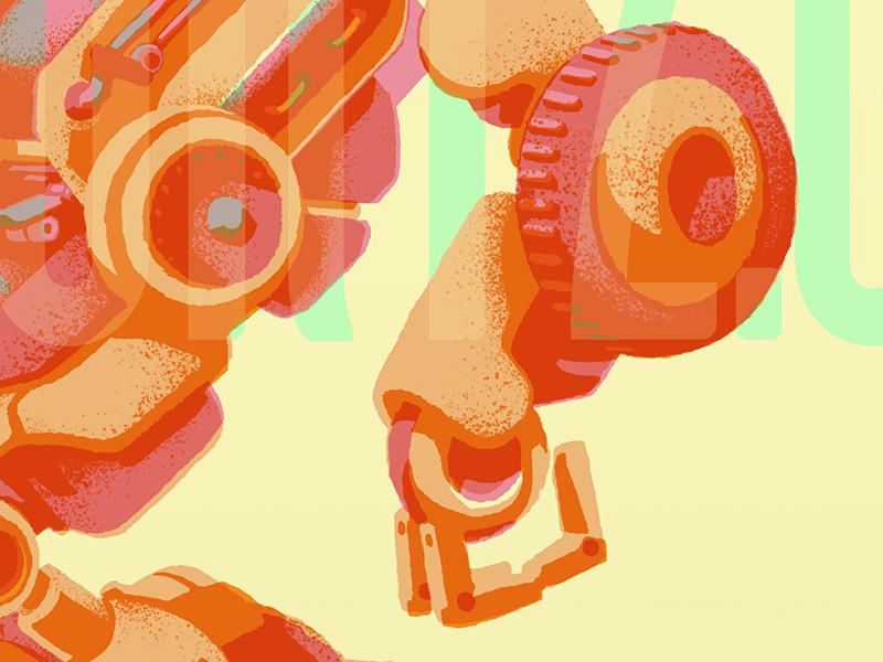 Victory2.0 for the Robo Show lightgreyartlab tech vibrant retro illustration robot mech
