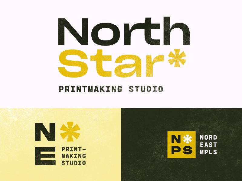 North Star Printmaking Studio printmaking minimal simplicity north star star system type lockup type logo branding