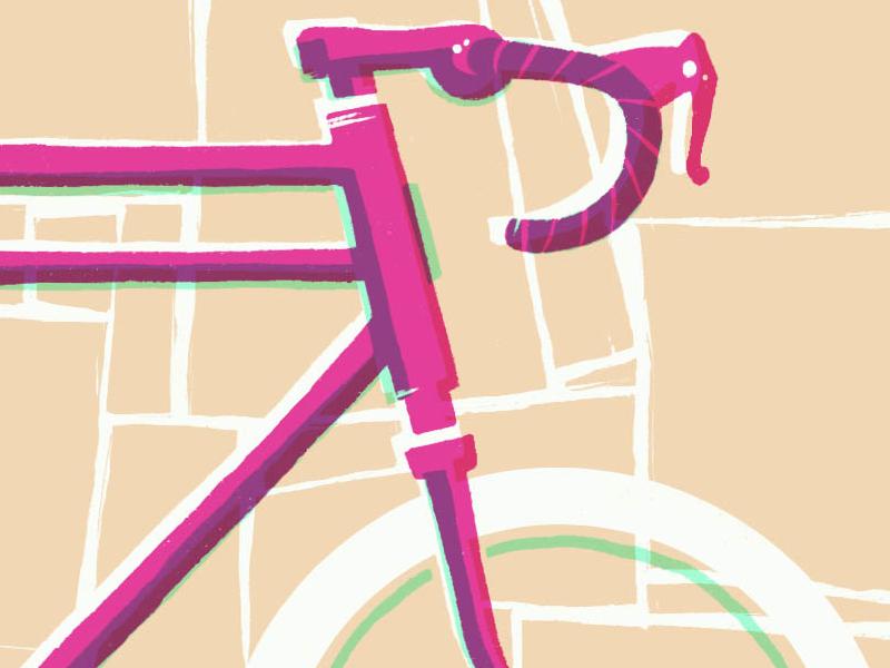 (Late) Holiday Prints illustration bike overprint screen print
