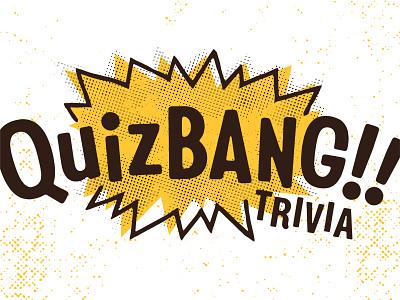 Quizbang!! Logo Lockup trivia pop explosion playful comic tonal bitmap grungy gritty branding logo
