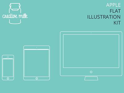 Imac, Ipad & Iphone flat illustration free freebie illustrator iphone vector ipad imac flat design