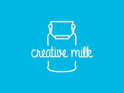 Creative Milk flat design illustrator logo branding
