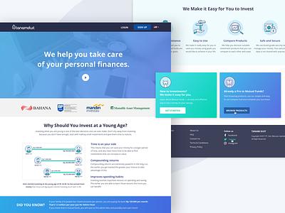 tanamduit Landing Page interface website millenials design ui card bank blue illustration finance mutual fund landing page